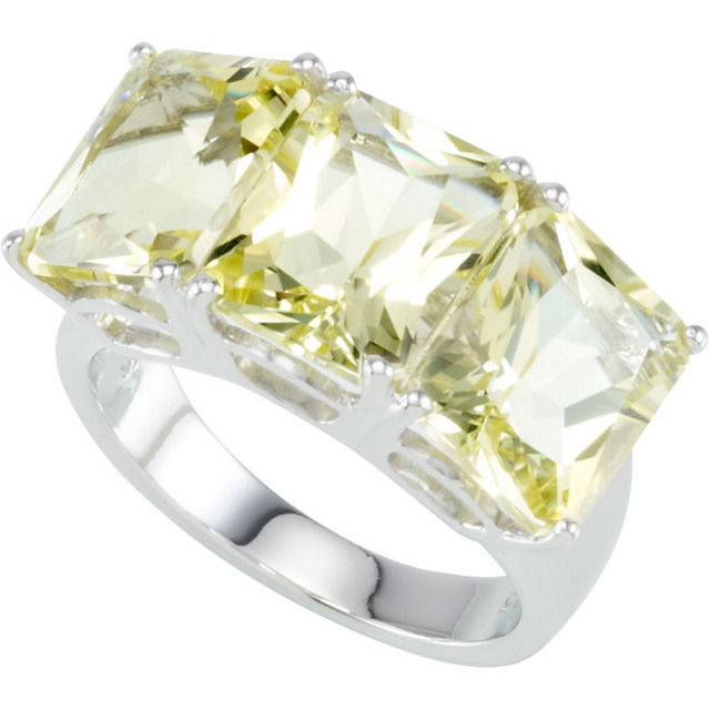 Great Deal in Sterling Silver Lime Quartz 3 Stone Ring