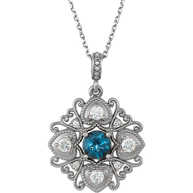 Easy Gift in Sterling Silver London Blue Topaz & 0.25 Carat Total Weight Diamond 18