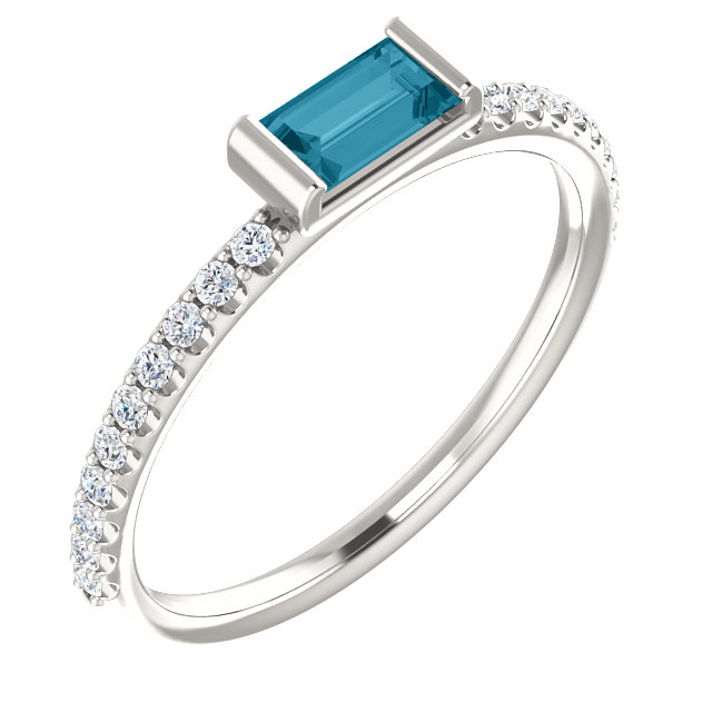 Stylish Sterling Silver Straight Baguette Genuine London Blue Topaz & 1/6 Carat Total Weight Diamond Stackable Ring