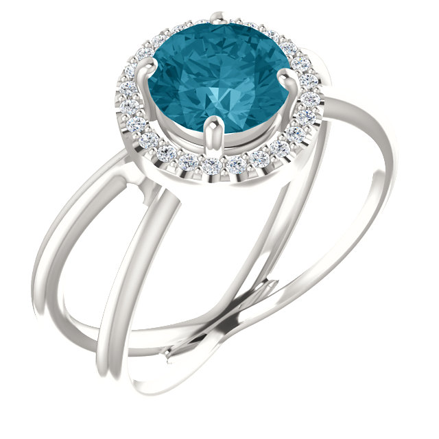 Fantastic Sterling Silver Round Genuine London Blue Topaz & 1/10 Carat Total Weight Diamond Halo-Style Ring