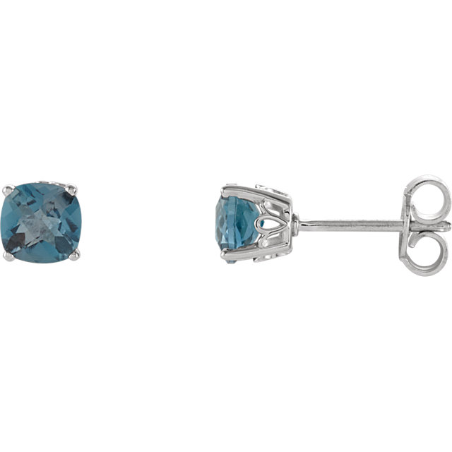 Very Nice Sterling Silver London Blue Topaz Earrings