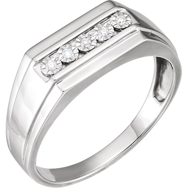 Great Gift in Sterling Silver Men's .05 Carat Total Weight Diamond Band Size 11