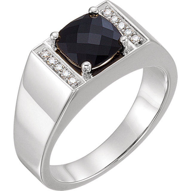 Chic Sterling Silver Men's Onyx & 0.10 Carat Total Weight Diamond Ring