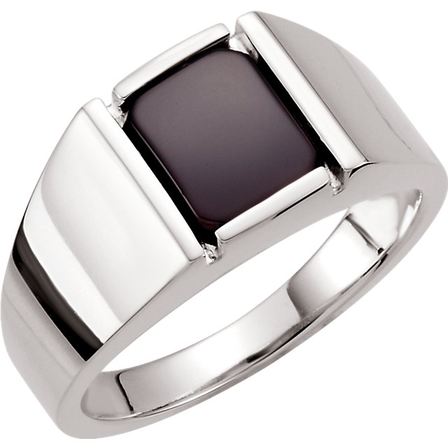 Perfect Gift Idea in Sterling Silver Men's Onyx Ring