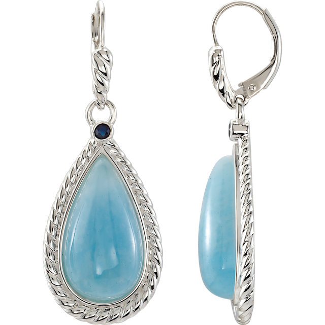 Captivating Sterling Silver Milky Pear Genuine Aquamarine & Pear Genuine Blue Sapphire Earrings