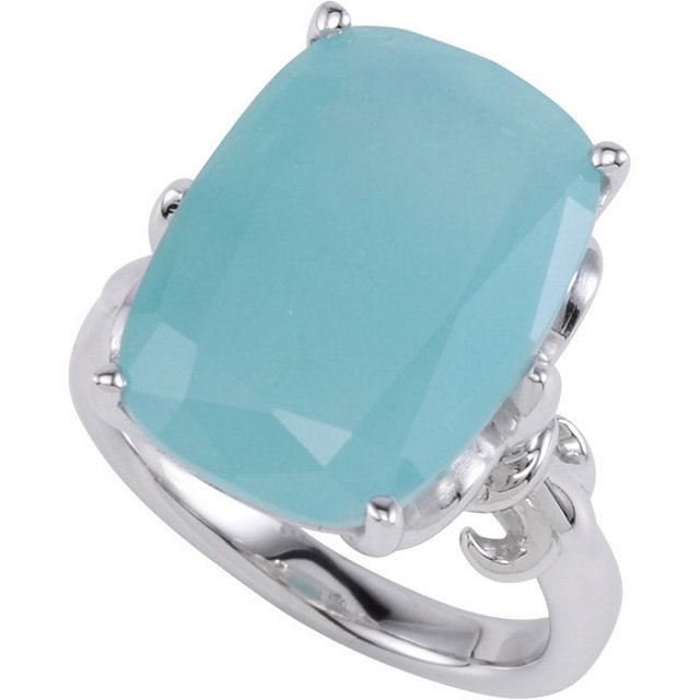 Sterling Silver Milky Aquamarine Ring Size 7