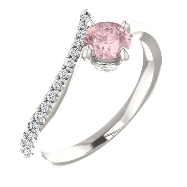 Easy Gift in Sterling Silver Morganite & 0.10 Carat Total Weight Diamond Bypass Ring