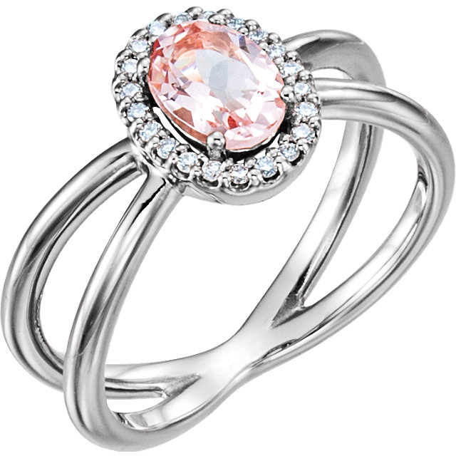 Alluring Sterling Silver Oval Genuine Morganite & .08 Carat Total Weight Diamond Ring