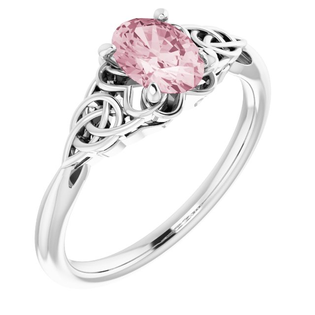 Pink Morganite Ring in Sterling Silver Morganite Celtic-Inspired Ring