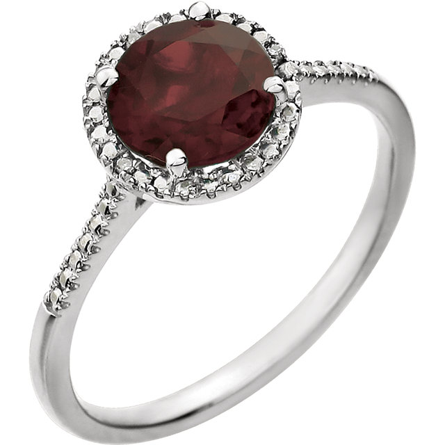 Appealing Jewelry in Sterling Silver Mozambique Garnet & .01 Carat Total Weight Diamond Ring