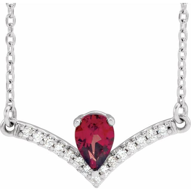 Red Garnet Necklace in Sterling Silver Mozambique Garnet & .06 Carat Diamond 18