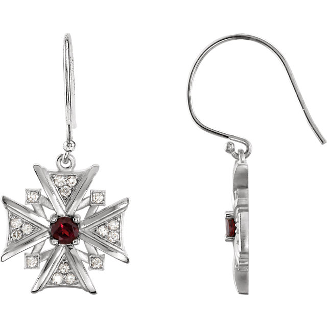 Stunning Sterling Silver Round Genuine Mozambique Garnet & 1/3 Carat Total Weight Diamond Earrings