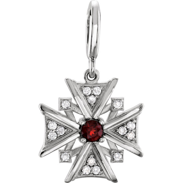 Very Nice Sterling Silver Mozambique Garnet & Diamond Charm