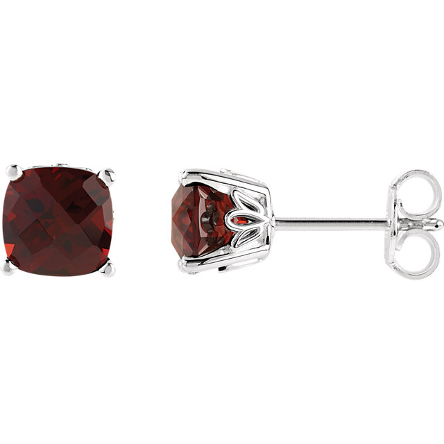 Spectacular Sterling Silver Cushion Genuine Mozambique Garnet Earrings