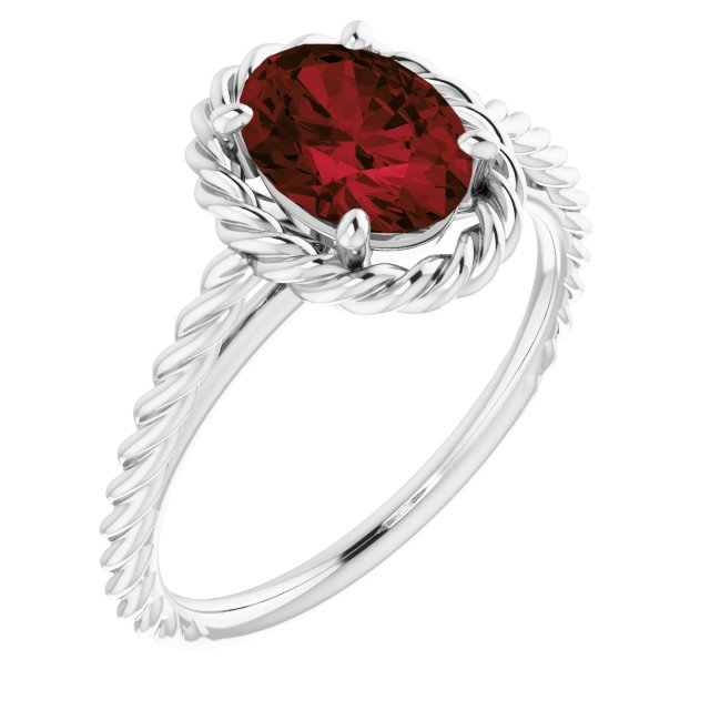 Red Garnet Ring in Sterling Silver Mozambique Garnet Rope Ring