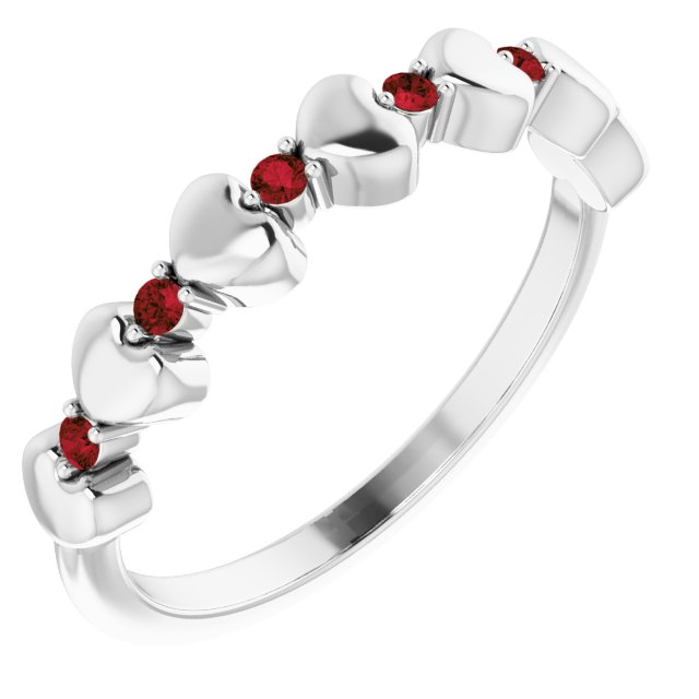 Red Garnet Ring in Sterling Silver Mozambique Garnet Stackable Heart Ring
