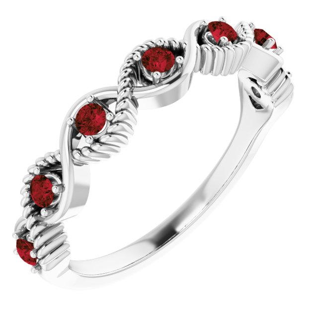 Red Garnet Ring in Sterling Silver Mozambique Garnet Stackable Ring