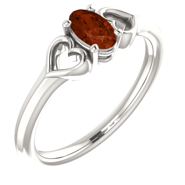 Sterling Silver Mozambique Garnet Youth Heart Ring
