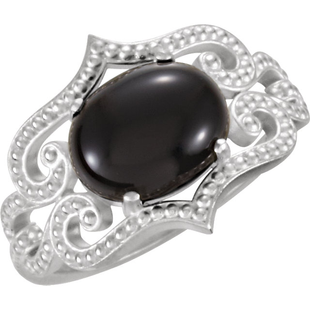 Great Deal in Sterling Silver Onyx Granulated Design Ring