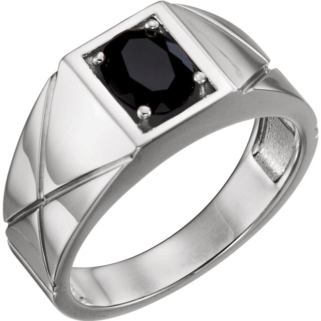 Contemporary Sterling Silver Onyx Men's Ring