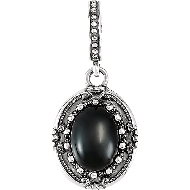 Easy Gift in Sterling Silver Onyx ViCaratorian-Style Pendant