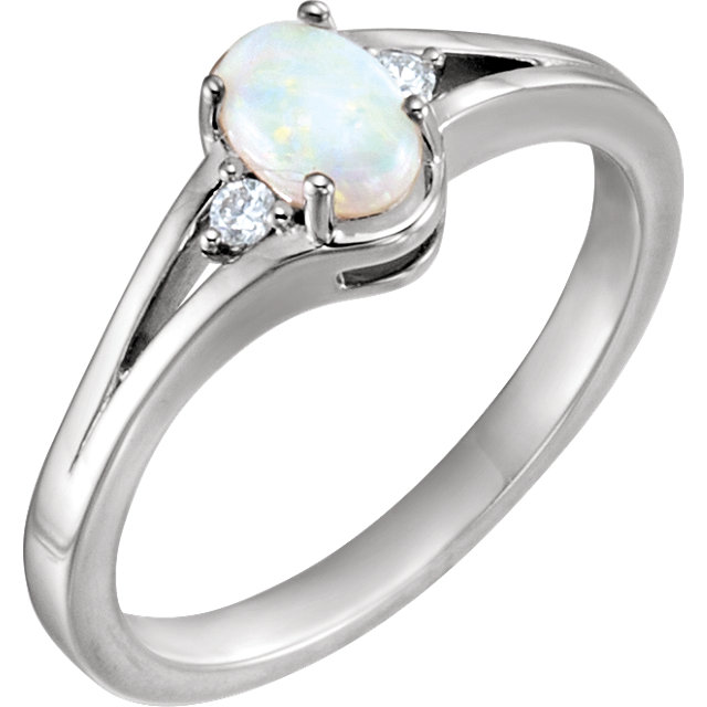 Perfect Jewelry Gift Sterling Silver Opal & .04 Carat Total Weight Diamond Ring