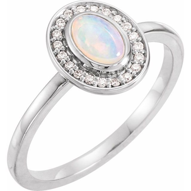 Genuine Opal Ring in Sterling Silver Opal & .08 Carat Diamond Halo-Style Ring