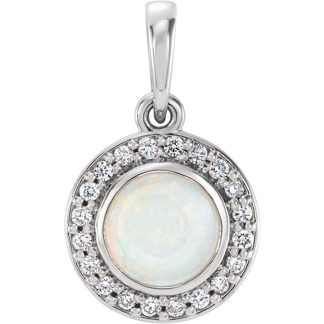 Amazing Sterling Silver Round Genuine Opal & 1/10 Carat Total Weight Diamond Pendant