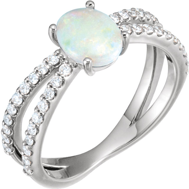 Great Deal in Sterling Silver Opal & 0.33 Carat Total Weight Diamond Ring