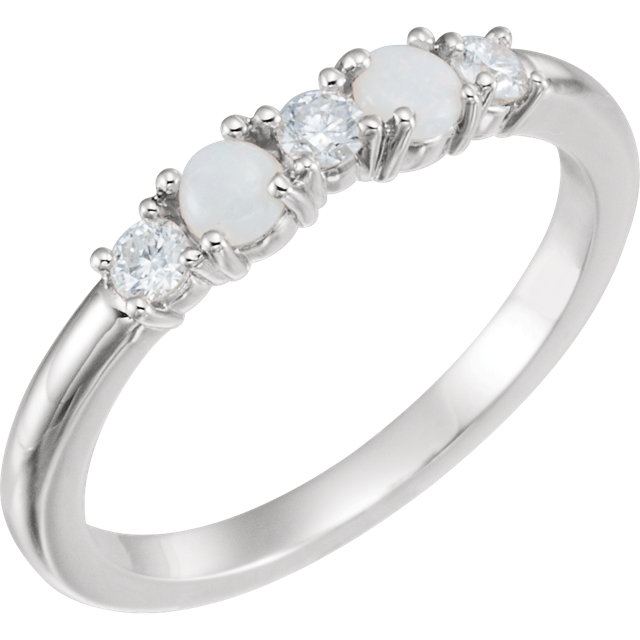 Perfect Gift Idea in Sterling Silver Opal & 0.20 Carat Total Weight Diamond Stackable Ring