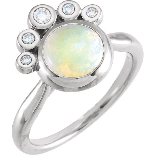 Genuine Opal Ring in Sterling Silver Opal & 1/8 Carat Diamond Ring