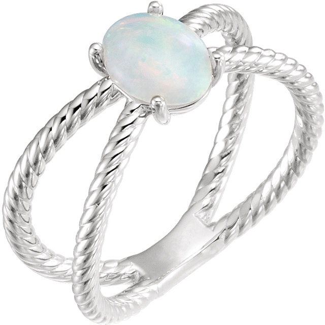 Great Gift in Sterling Silver 8x6mm Oval Cabochon Rope Ring Mounting