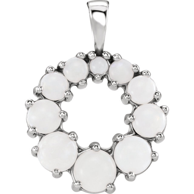 Fantastic Sterling Silver Round Genuine Opal Halo-Style Pendant