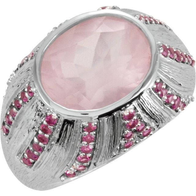 Sterling Silver Oval Rose Quartz & Tourmaline Ring