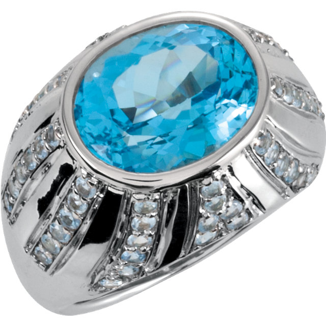 Great Gift in Sterling Silver Oval Swiss Blue Topaz & Aquamarine Ring