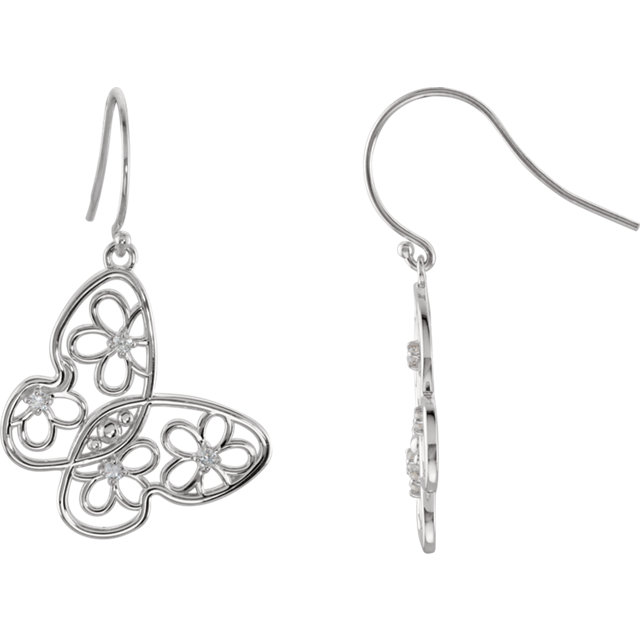 Genuine Sterling Silver 0.17 Carat Diamond Floral-Inspired Butterfly Earrings