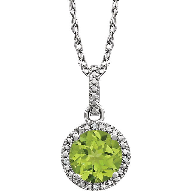 Fine Quality Sterling Silver Peridot & .01 Carat Total Weight Diamond 18