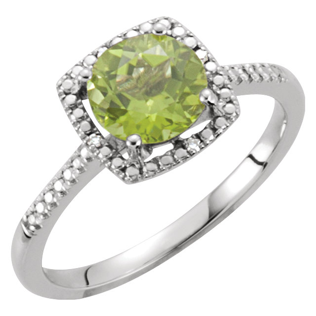 Good Looking Sterling Silver Round Genuine Peridot & .01 Carat Total Weight Diamond Ring