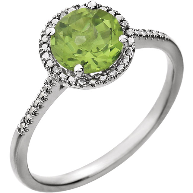 Best Sterling Silver Round Genuine Peridot & .01 Carat Total Weight Diamond Ring