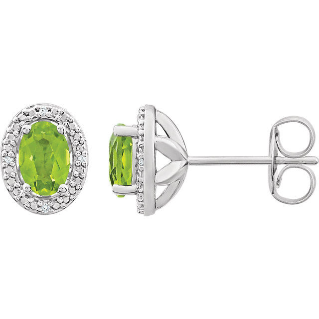 Easy Gift in Sterling Silver Peridot & .025 Carat Total Weight Diamond Earrings