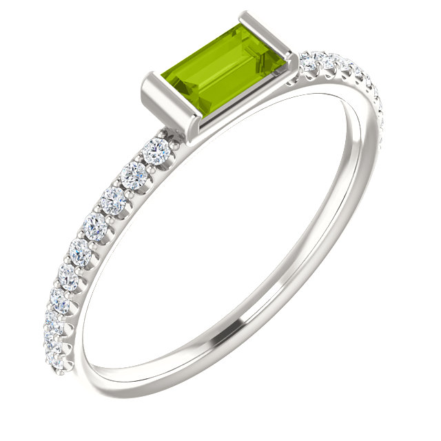 Fantastic Sterling Silver Straight Baguette Genuine Peridot & 1/6 Carat Total Weight Diamond Stackable Ring
