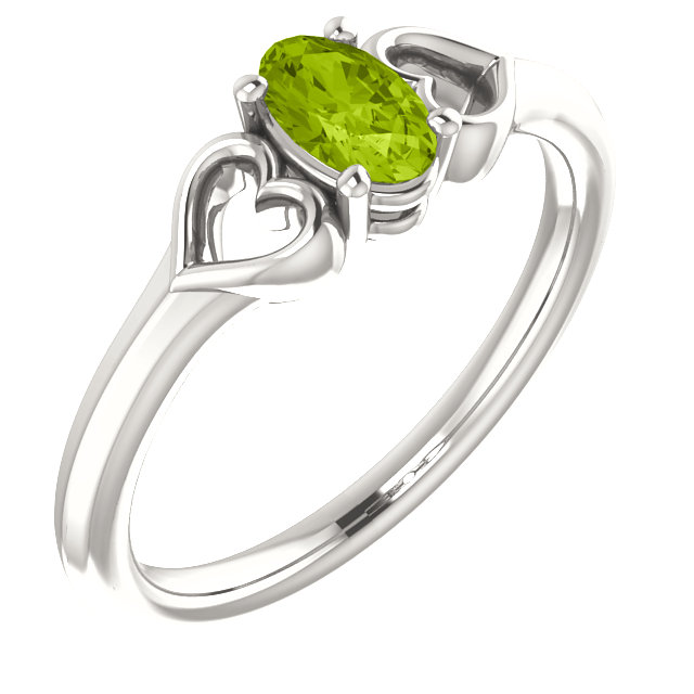 Fine Sterling Silver Peridot Youth Heart Ring