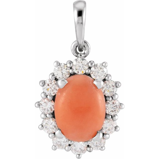 Pink Coral Pendant in Sterling Silver Pink Coral & 1/3 Carat Diamond Pendant