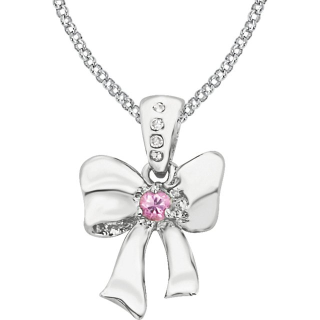 Sterling Silver Pink Sapphire & .02 Carat Total Weight Diamond Bow 14
