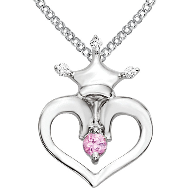 Sterling Silver Pink Sapphire & .02 Carat Total Weight Diamond Crown Heart 14-16
