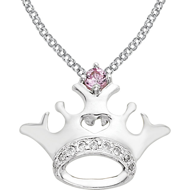 Sterling Silver Pink Sapphire & .04 Carat Total Weight Diamond Crown 14-16