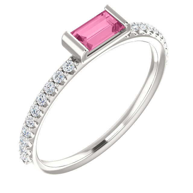 Must See Sterling Silver Pink Sapphire & 0.17 Carat Total Weight Diamond Stackable Ring