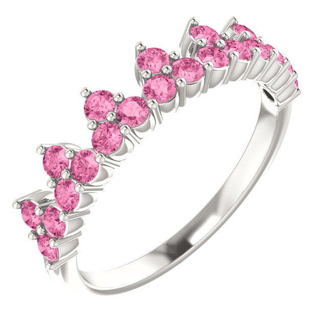 Stunning Sterling Silver Pink Sapphire Crown Ring