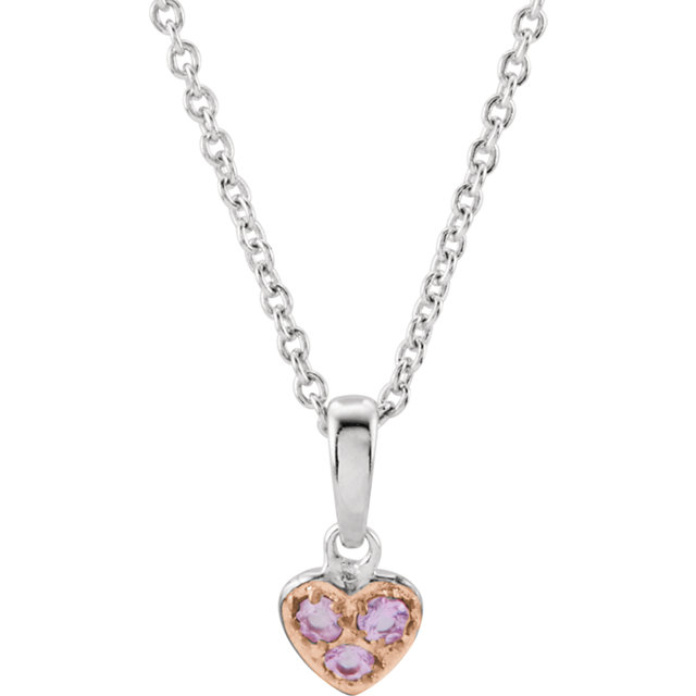 Sterling Silver Pink Sapphire Heart 14-16