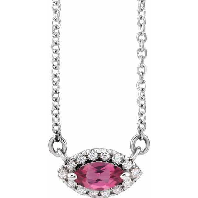 Pink Tourmaline Necklace in Sterling Silver Pink Tourmaline & .05 Carat Diamond Halo-Style 16